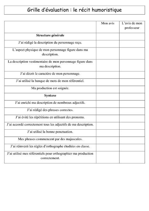 R cit humoristique ecriture cm1 cm2 r daction grille d 39 valuation cycle 3 pass education - Grille d auto evaluation ...
