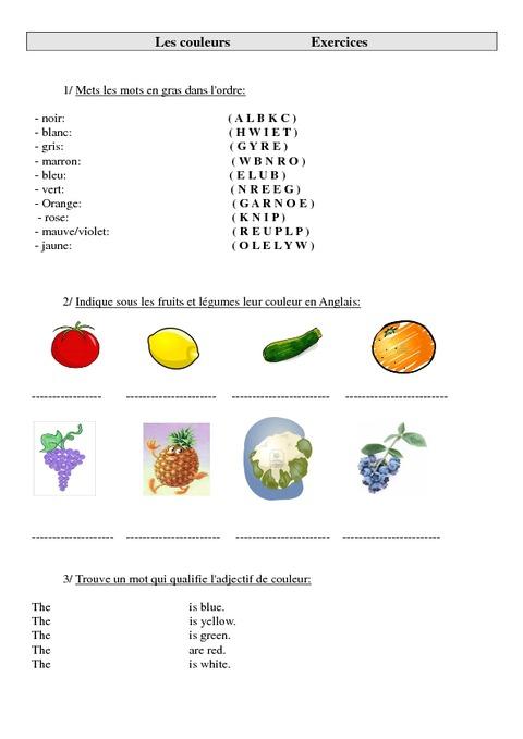 couleurs en anglais colors ce2 cm1 cm2 exercices anglais cycle 3 1 pass education. Black Bedroom Furniture Sets. Home Design Ideas
