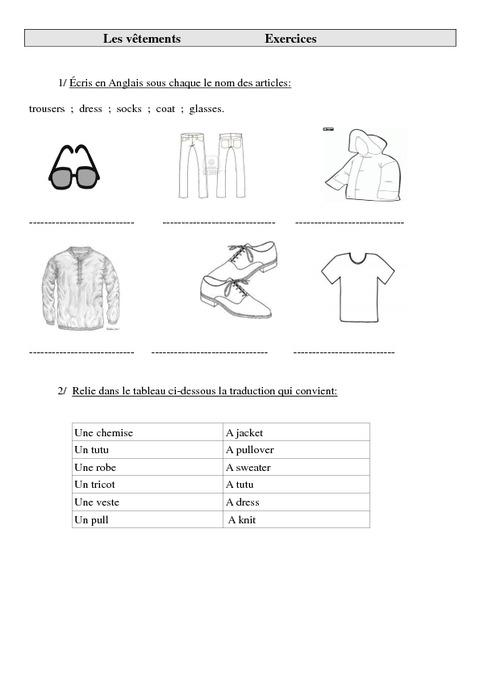 v tements en anglais trousers dress socks coat glasses ce2 cm1 cm2 anglais. Black Bedroom Furniture Sets. Home Design Ideas