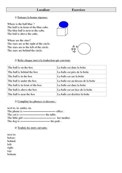 Localiser en anglais ce2 cm1 cm2 pass education for Set de table anglais