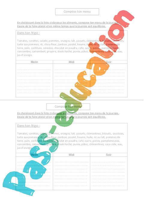 compose ton menu exercices ce2 cm1 cm2 sciences cycle 3 pass education. Black Bedroom Furniture Sets. Home Design Ideas