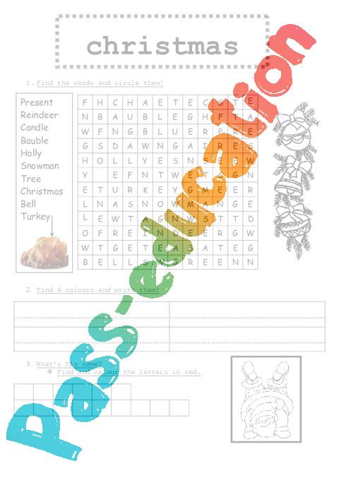 Exercices mots crois s en anglais sur no l ce2 cm1 cm2 pass education - Christmas cycle 3 ...