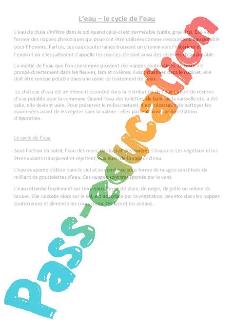 cycle de l 39 eau le on cm1 cm2 sciences cycle 3 pass education. Black Bedroom Furniture Sets. Home Design Ideas