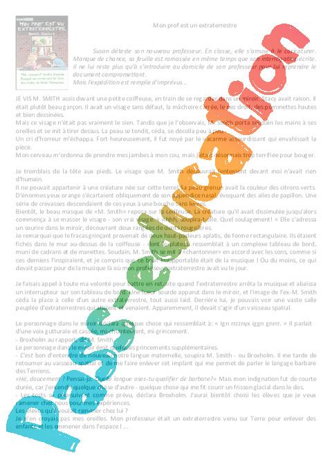 Coloriage Magique Extraterrestre.Mon Prof Est Un Extraterrestre Cm1 Cm2 Lecture Comprehension