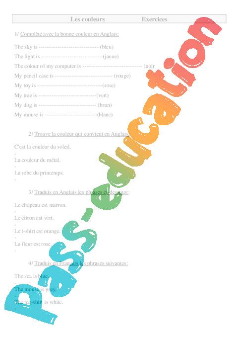 Couleurs en anglais colors ce2 cm1 cm2 exercices for Dans 6 mois en anglais