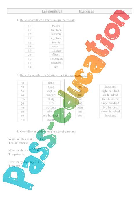 Exercices Les Nombres En Anglais Ce2 Cm1 Cm2 Pass Education