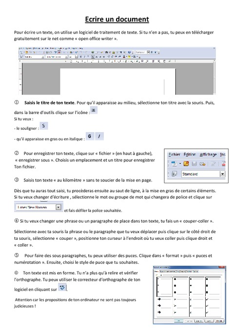 fiche  u00e9l u00e8ve ecrire un document - informatique - ce2 cm1 cm2 - sciences - cycle 3