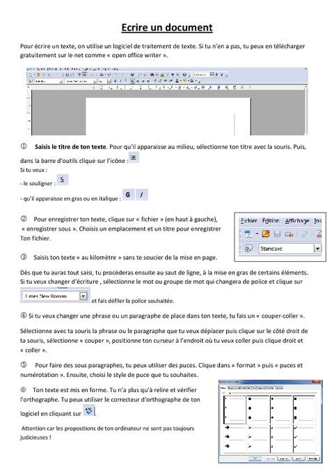 fiche  u00e9l u00e8ve ecrire un document - informatique - ce2 cm1 cm2 - sciences - cycle 3