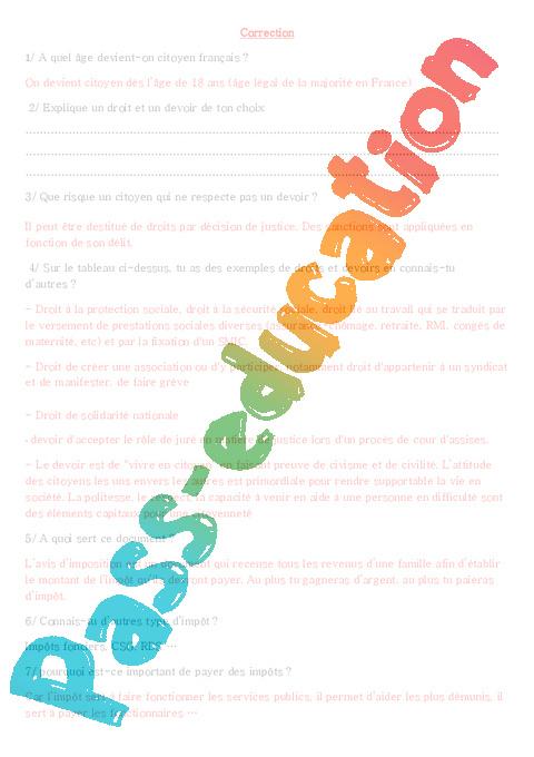 Les droits et devoirs du citoyen fran ais ce2 cm1 cm2 document questions correction - Droit et devoir du locataire ...