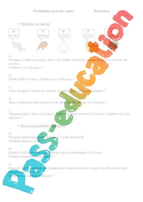 probl mes avec les euros ce2 exercices cycle 3 1 pass education. Black Bedroom Furniture Sets. Home Design Ideas