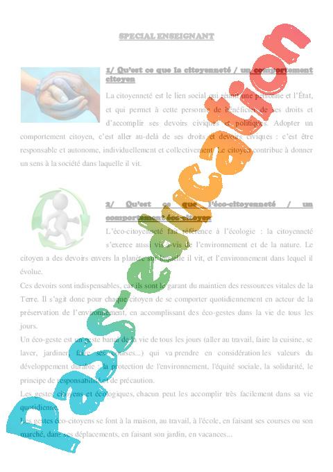 dossier eco citoyen cm1 cm2 2 pass education. Black Bedroom Furniture Sets. Home Design Ideas