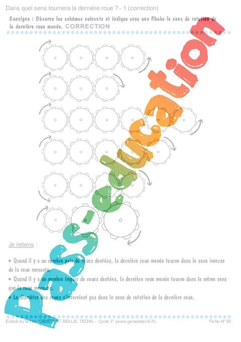Engrenages dans quel sens tournera la derni re roue exercices cm1 cm2 sciences cycle - Dans quel sens dormir ...