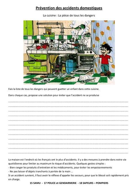 Pr vention des accidents domestiques exercices ce2 for Accident domestique cuisine