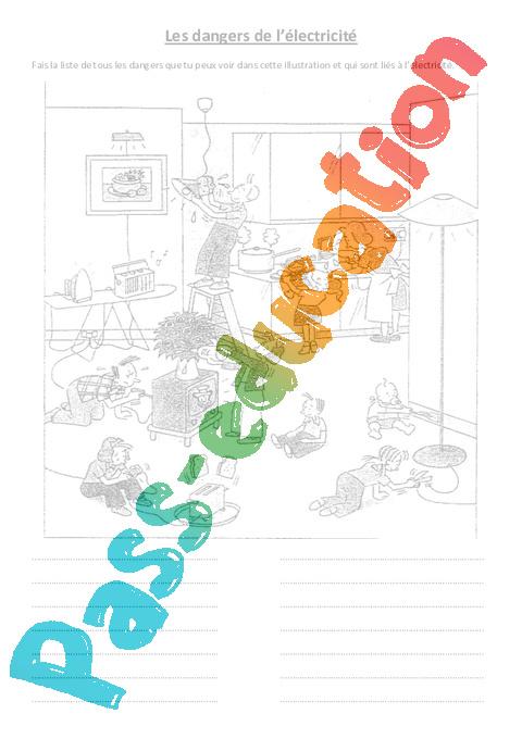 les dangers de l 39 lectricit le on ce2 cm1 cm2 sciences cycle 3 pass education. Black Bedroom Furniture Sets. Home Design Ideas