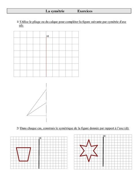 Sym trie cm2 exercices imprimer pass education - Symetrie a imprimer ...