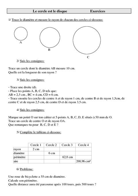 Cercle - Disque - Cm2 - Exercices - Géométrie ...