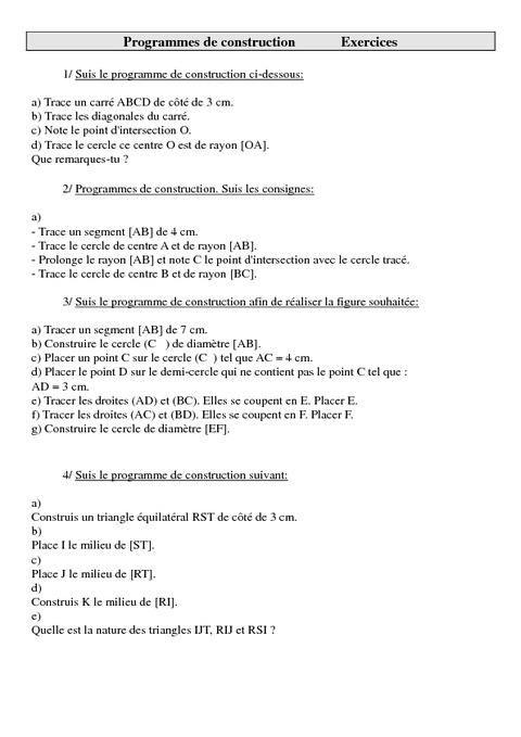 Programmes de construction - Cm2 - Exercices - Géométrie ...