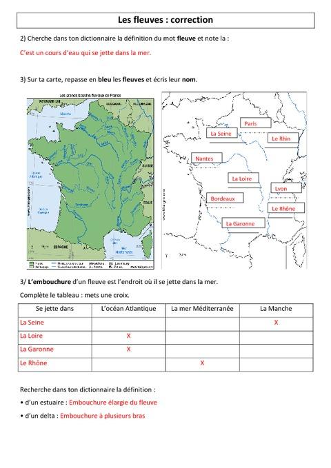 Fleuves de France - Ce2 - Cm1 - Géographie - Exercices - Pass Education