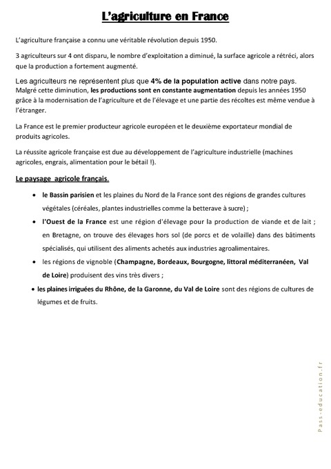 L 'agriculture en France - Ce2 cm1 cm2 - Géographie