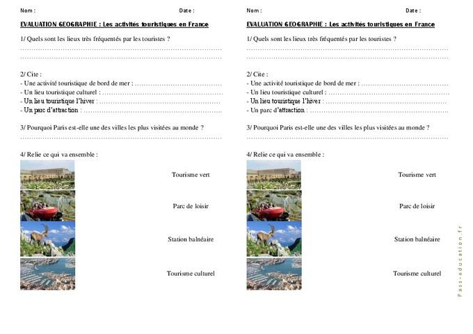 Activit s de tourisme en france cm1 cm2 evaluation for Lieux touristiques france