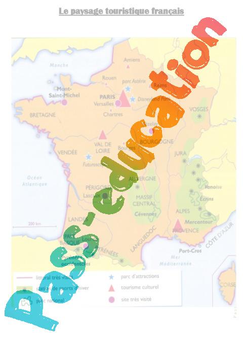 Carte du paysage touristique fran ais cm1 cm2 pass for Lieux touristiques france