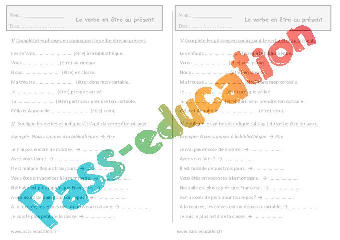 0123f78c9 Conjuguer le verbe être au présent - Ce1 - Exercices - Pass Education