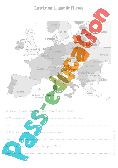Carte Europe Cm1.Carte De L Europe Cm1 Cm2 Exercices Pass Education