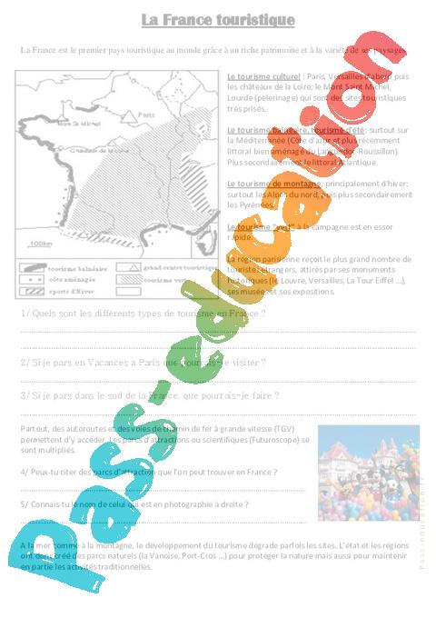 La france touristique cm1 cm2 document questions for Lieux touristiques france