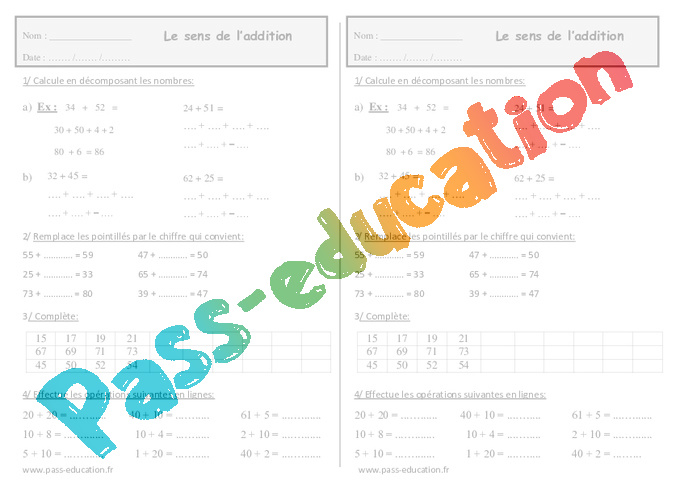 Le Sens De L Addition Ce1 Exercices à Imprimer Pass Education