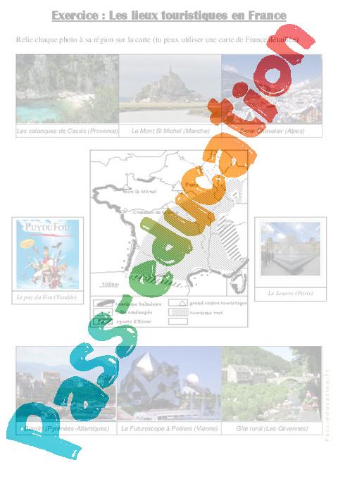 Les lieux touristiques en france cm1 cm2 exercices for Lieux touristiques france