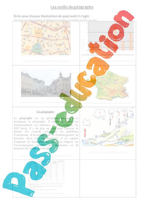 Les outils du géographe - Ce2 - Exercices - Pass Education