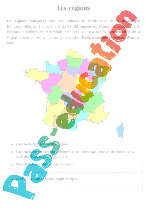 Les régions - Ce2 - Exercices géographie - Pass Education