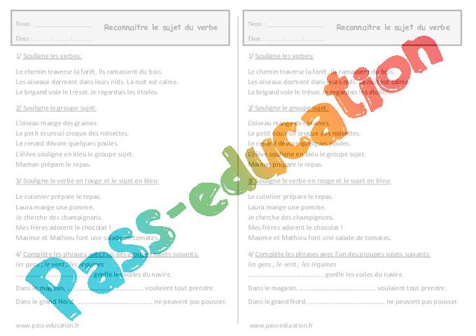 Reconnaître le sujet du verbe - Ce1 - Exercices à imprimer - Pass Education