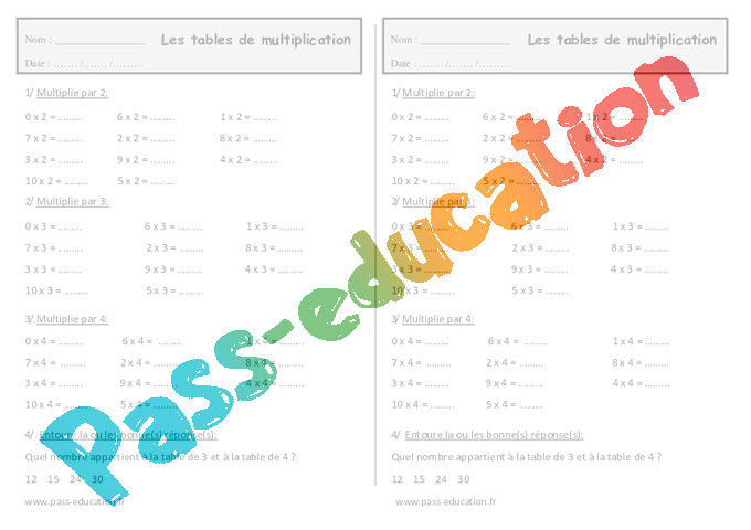 Tables de multiplication ce1 exercices imprimer pass education - Table de multiplication a imprimer ...