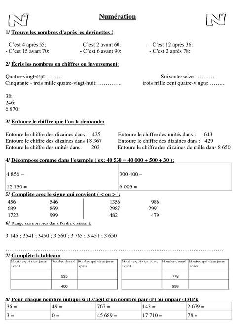 Bien-aimé Evaluation début d'année - Diagnostique - Cm1 - Mathématiques  SW71