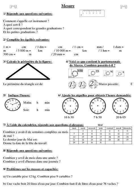Super Evaluation début d'année - Diagnostique - Cm1 - Mathématiques  KB18