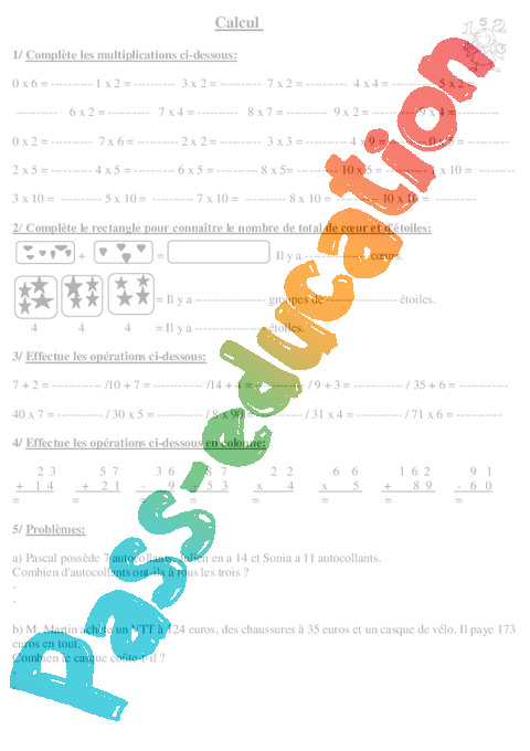 Evaluation d but d 39 ann e diagnostiques ce2 math matiques for Mathematique ce2 multiplication