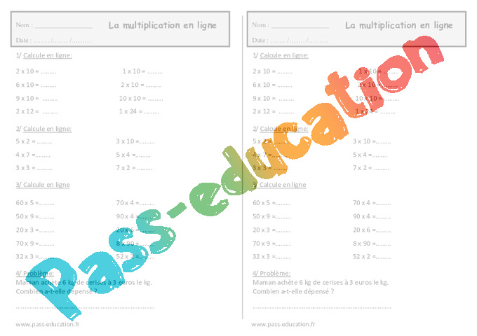 Multiplication en ligne ce1 exercices de calcul pass education - Table de multiplication en ligne ...