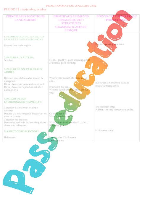 anglais progression programmation cm2 cycle 3 pass education. Black Bedroom Furniture Sets. Home Design Ideas