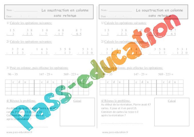 Soustraction en colonne sans retenue ce1 exercices calcul pass education - Addition et soustraction ce1 ...