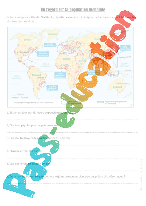 Carte Des Grand Foyer De Peuplement : La population mondiale cm exercices g�ographie