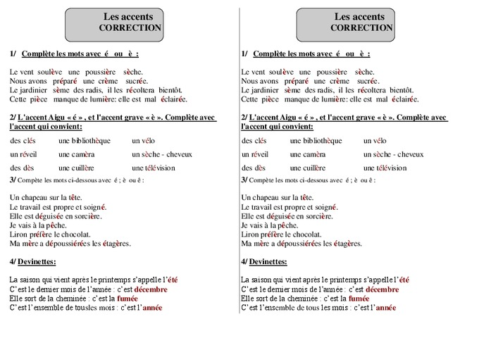 Accents - Ce1 - Exercices 2 - Orthographe - Cycle 2 - Pass ...