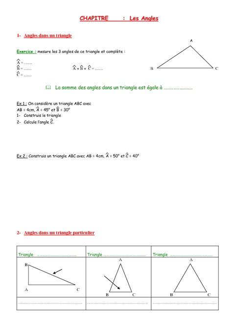 Angles - 5ème - Géométrie - Exercices - Contrôle ...