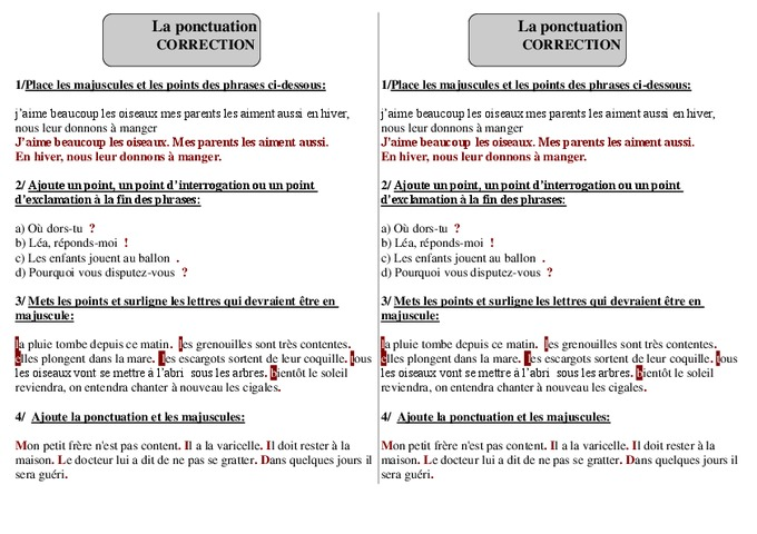 Ponctuation - Ce1 - Grammaire - Exercices corrigés - Cycle 2 - Pass Education