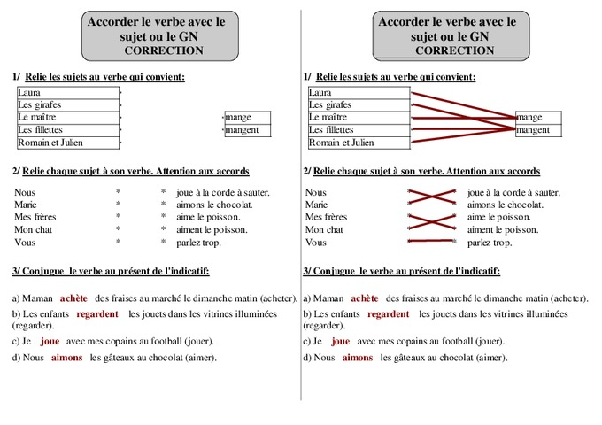 Verbe sujet groupe nominal ce1 grammaire exercices corrig s cycle 2 pass education - Grammaire ce1 a imprimer ...