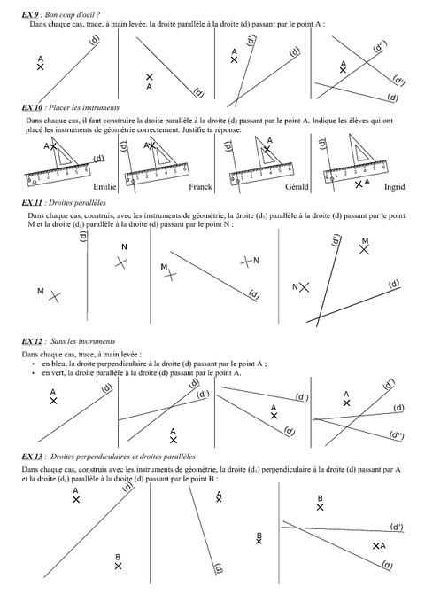Droites cercles triangles - 6ème - Géométrie - Exercices ...