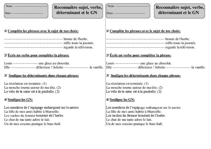 Sujet - Verbe - Déterminant - Groupe Nominal - Ce1 - Grammaire - Exercices corrigés - Cycle 2 ...