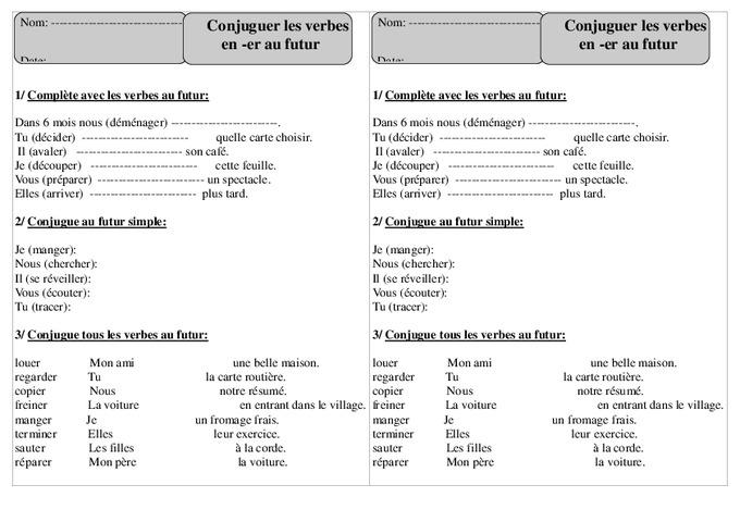 Verbes en er - Futur - Ce1 - Conjugaison - Exercices corrigés - Cycle 2 - Pass Education