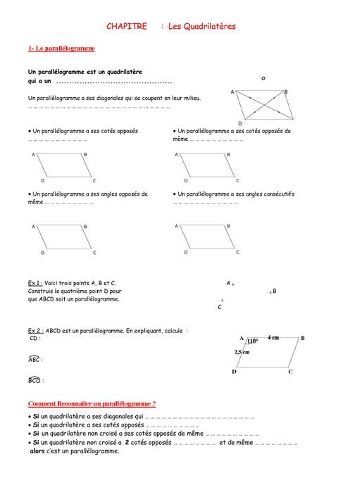 Quadrilatères - 5ème - Géométrie - Exercices - Contrôle - Mathématiques - Collège - Pass Education