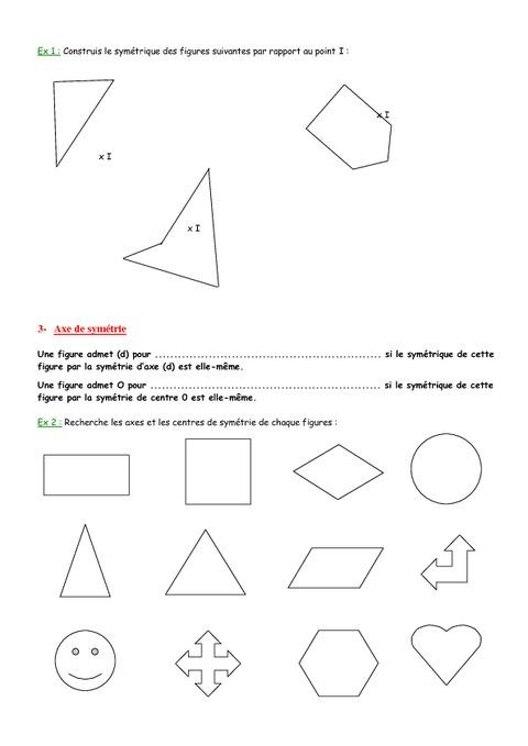 Sym trie centrale 5 me g om trie exercices contr le math matiques coll ge pass - Symetrie a imprimer ...
